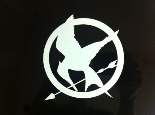 Hunger Games Mocking Jay Sticker Decal WHITE 4 x 4 inches