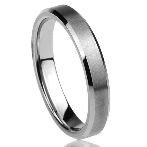 Unisex Women'S 4Mm Titanium Comfort Fit Wedding Band Ring Beveled Edges Brushed Classy Ring (5 To 12) - Size: 9.5
