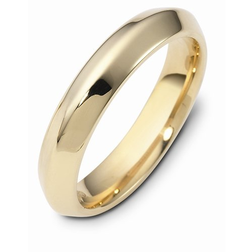 14K Yellow Gold, Soft Knife Edge 4MM Wedding Band (sz 8)