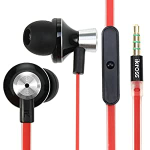 iKross In-Ear 3.5mm Noise-Isolation Stereo Earbuds Headphones with Microphone - Metallic Black/Red