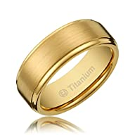 8MM Men's Titanium Gold-Plated Ring W…