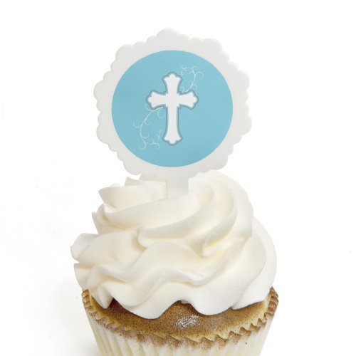 little-miracle-boy-blue-gray-cross-baptism-cupcake-picks-with-stickers-party-cupcake-toppers-12-coun