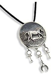 """Large Horse Totem for Journeys Animal Speak Sterling Silver Slide Art Pendant 19"""" Necklace"""