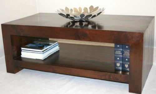 Homescapes - Dakota - RectangularCoffee Table with Storage Shelf - Dark - 100% Solid Mango Hard Wood - ( No Veneer ) Hand Crafted Furniture