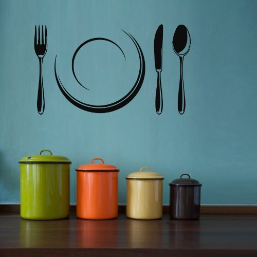 Housewares Vinyl Decal Cutlery And Plate Home Wall Art Decor Removable Stylish Sticker Mural Unique Design For Kitchen Cafe Room