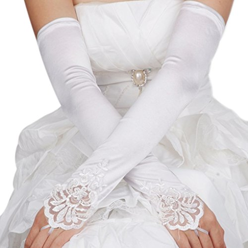 Greenery Women Bride Long Satin Fingerless Pearl Lace Dress Gloves for Wedding Party Costume (White)