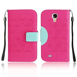 2-color Series Diamond Texture Horizontal Flip Leather Case with Credit Card Slot & Holder & Lanyard for Samsung Galaxy S4 i9500 (Magenta + Baby Blue)