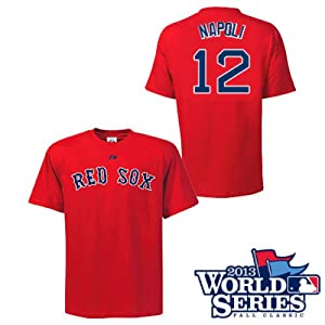 Mike Napoli Boston Red Sox Red Youth Player T-Shirt w  World Series Logo by Majestic by Majestic