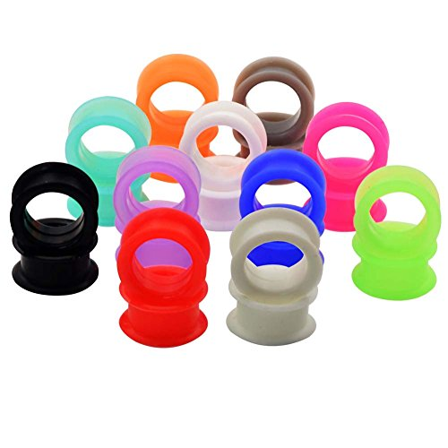 Longbeauty 11 PAIRS Silicone EAR PLUGS TUNNELS-EAR EXPANDER STRETCHING GAUGES 8G-1
