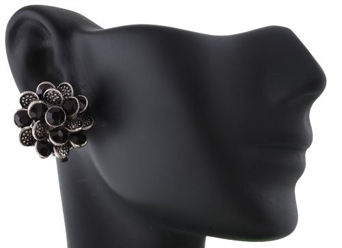 Ladies Silver with Black Stones Iced Out Flower Pedal Clip on Earrings