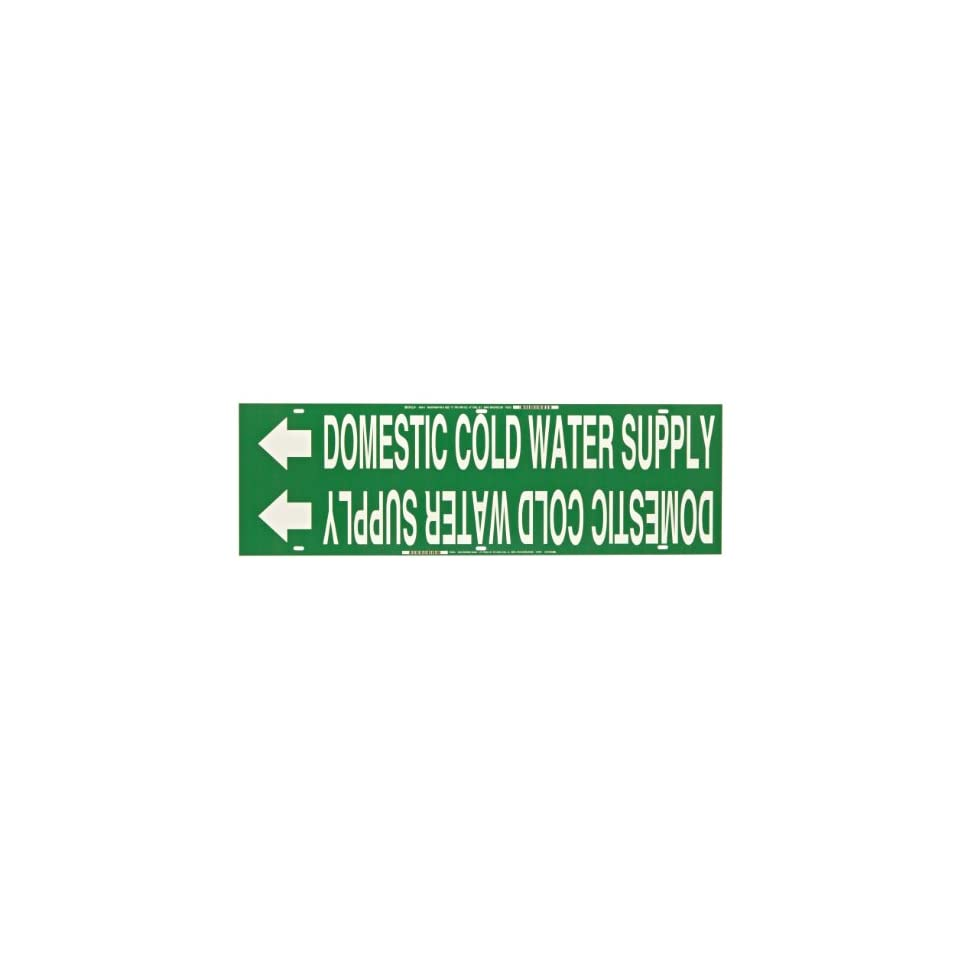 Brady 4050-B Snap-On 1-1//2-2-3//8 Outside Pipe Diameter B-915 Coiled Printed Plastic Sheet White On Green Color Pipe Marker Legend Domestic Cold Water Supply