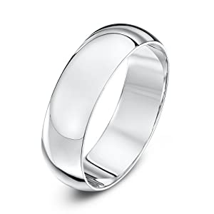 Theia 9ct White Gold - Super Heavy D Shape - Highly Polished - 6mm Wedding Ring - for Men or Women - Size R