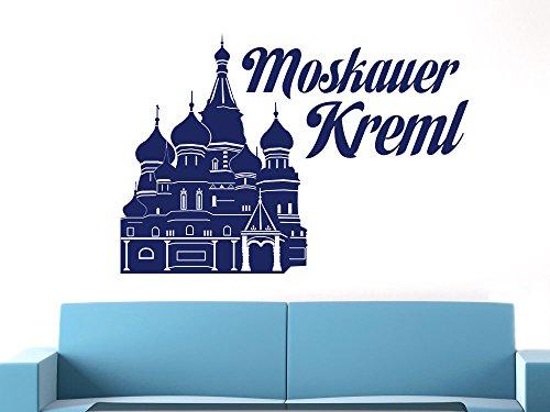 Wandtattoo Wand Sticker Design Deko für Wohnzimmer Büro Moskauer Kreml Russland Asien Burg (Größe=43x30cm//Farbe=030 dunkelrot)