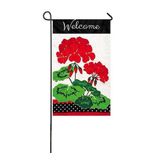 Welcome Red Geraniums Applique Garden Flag