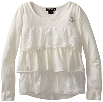 Baby Phat Big Girls' Tier Ruffle Lace Top, Cream, Large