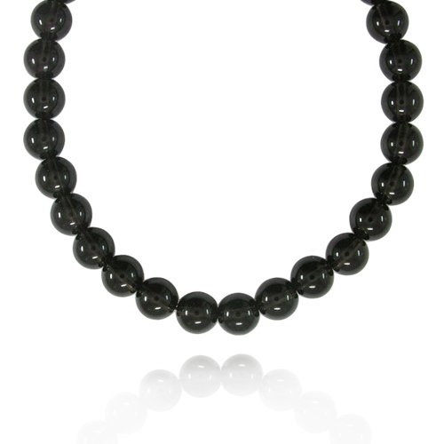 12mm Plain Round Smoky-Quartz Bead Necklace, 60