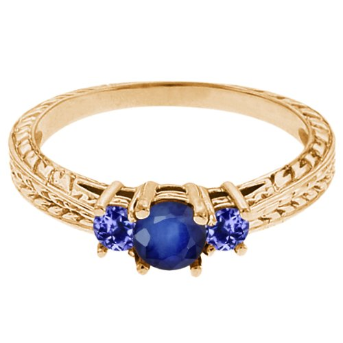 0.60 Ct Round Blue Sapphire Tanzanite 14K Yellow Gold 3-Stone Ring