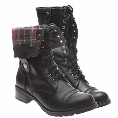 Black Fold Over Combat Boots Women Images & Pictures - Becuo