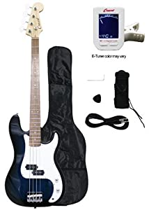 Crescent Electric Bass Guitar Blueburst Starter Kit (Includes CrescentTM Digital E-Tuner) from Crescent
