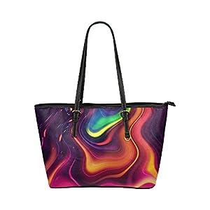 Women's Leather Large Tote HandBag Abstraction Color Pattern Shoulder Bag