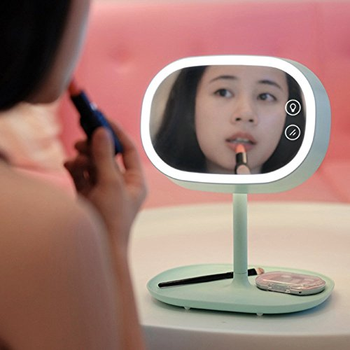 AccMart Lighted Makeup Vanity Mirror with Table Lamp for Bedroom Home Decor Mint Green