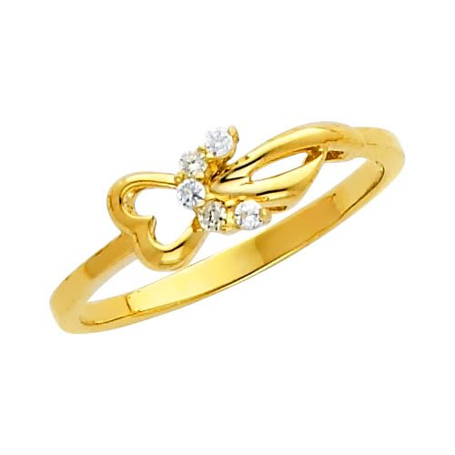 14K Yellow Gold Heart CZ Cubic Zirconia Promise Ring Band - Size 5