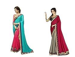 Pragya creations Women's Chiffon Saree (Prag47_Multi)-pack of 2