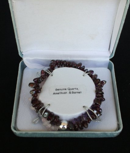 Brilliant 3 Piece Bracelet Set of Genuine Amethyst, Garnet & Quartz- Dark Purple, Light Purple & Pinkish/White Hue