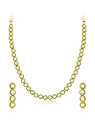 Sukkhi Angelic Single String Gold Plated Kundan Necklace Set For Women