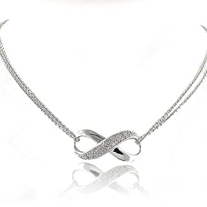 0.25ctw Diamond & Sterling Silver Infinity Necklace