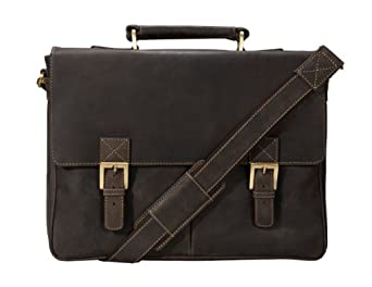 Visconti Berlin (18716) Leather Twin Buckle Briefcase with Detachable Strap (Brown)