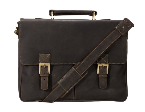 Visconti Visconti Berlin Leather Twin Buckle Briefcase With Detachable Strap, Brown, One Size