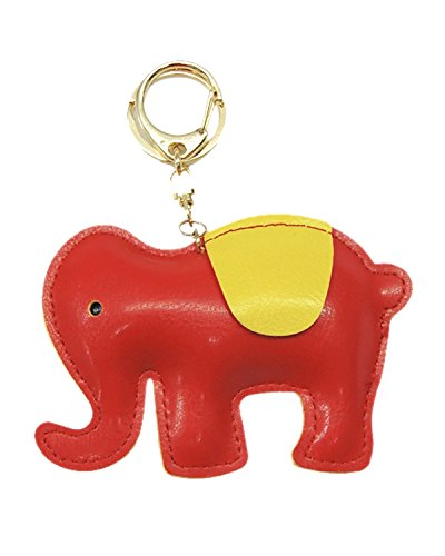 Young & Forever Handmade Pu Leather Cute Animal Elephant Key Chain Bag Charm (Red Color) By CrazeeMania