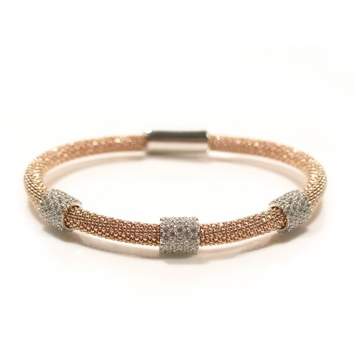 Sterling silver mesh bracelet with triple cz sparkle with a rose gold vermeil