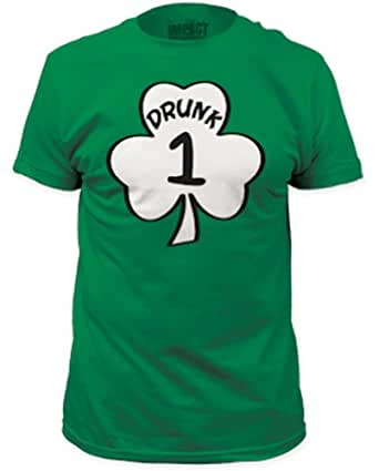 St. Paddy's Day Drunk 1 & Drunk 2 Men's Green T-shirts (Adult Small, Drunk 1)