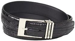Stacy Adams Men's 30mm Hornback And Croco Embossed Belt, Black, 44
