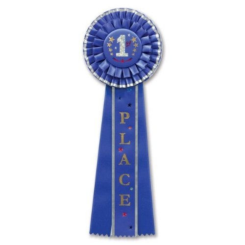 Beistle RD10 1st Place Deluxe Rosette, 41/2 by 131/2-Inch