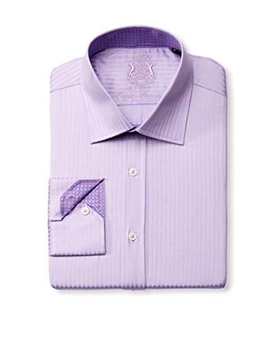 English Laundry Men's Tonal Herringbone Stripe Dress Shirt