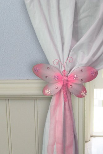 Pink Taylor Dragonfly Tieback -Sold Individually- (Nylon Sheer W/Sequins, For Drapes, Curtains, Sheers, Nursery Bedroom Rooms,For Girl, Teen, Baby, Wedding, Pews, Birthday, Party, Bridal Shower, Wall Treatment front-26941