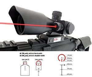 Monstrum 3-9x40 Rifle Scope with Illuminated BDC Reticle, Electronic Switch Control, Integrated Rail Mount, and Built-In Red Laser Sight