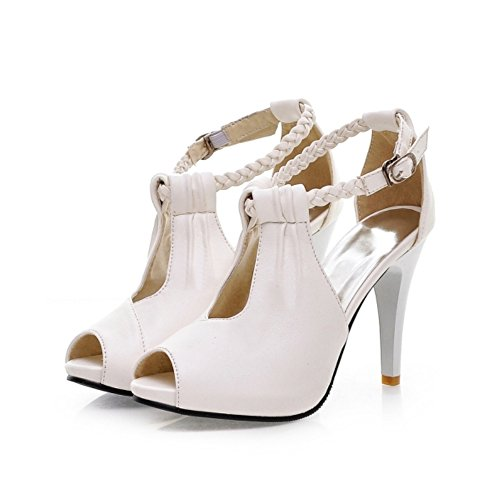 Plus Size New Summer Women Pumps High Heel Sandals T Strap Buckle Casual Female Shoes