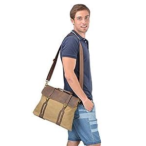 Gootium 30311KA Cotton Canvas Genuine Leather Cross Body Laptop Messenger Bag Business Shoulder Handbag,Khaki