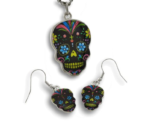 Day Of The Dead Black Sugar Skull Necklace And Dangle Earrings Set