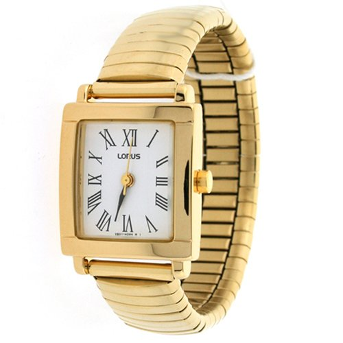 Lorus Ladies Stretch Band Gold Tone Watch with Roman Easy to Read Dial