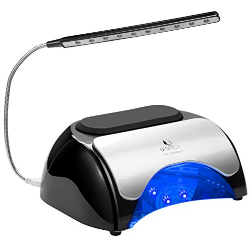 USpicy 48W LED UV Nail Dryer Nail Lamp for Gel Polishes with Automatic Sensor, Pull-down Cover, USB Light (Double press the 120s timer button to turn on the USB Light) and Three Timer Settings (Uv Led Gel Lamp compare prices)