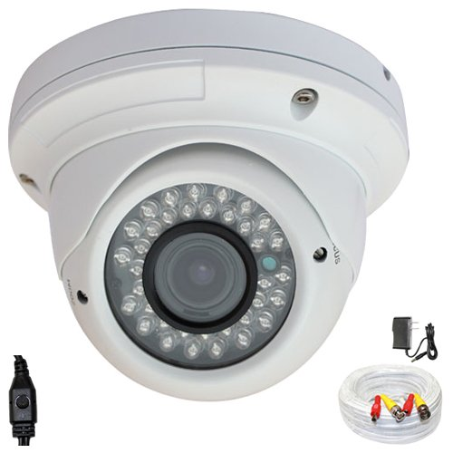 """1/3"""" Exview Had Ccd Ii 700Tvl With Effio-E Dsp Devices Professional Indoor Dome Surveillance Security Camera With 125Ft Bnc Cable & Power Adapter Kit - 700 Tv Lines, 2.8~12Mm Varifocal Lens, 36Pcs Ir Led, 98 Ft Ir Distance. Wdr(Wide Dynamic Range). Osd Me"""