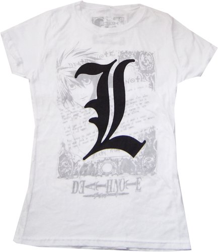 Death Note: L Imprint Style Junior White T Shirt.