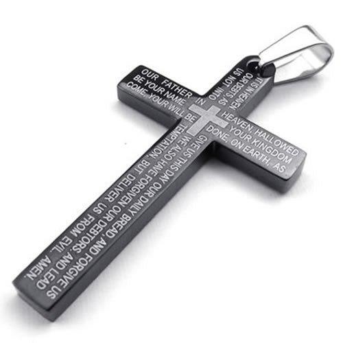 KONOV Schmuck Edelstahl Bibel Gebet Kreuz Anhänger mit 70cm Kette, Halskette für Herren Damen, Schwarz