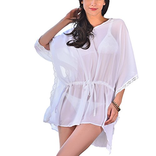 0aaeb4bd6 MG Collection® Angel Wing Sleeves V-Neck Flowy Chiffon Beach Swimsuit Cover  Up