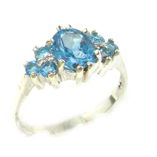 Ladies Contemporary Solid White Gold Natural Blue Topaz Ring - Size 9.25 - Finger Sizes 5 to 12 Available